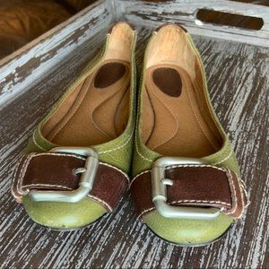 Fossil Green & Brown Leather Ballet Buckle Flats